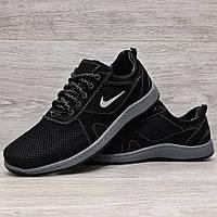 Кросівки чоловічі літні сітка чорні на шнурівку  (Мк-83ч)