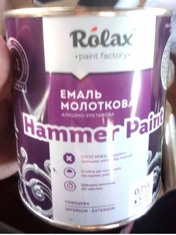 Эмаль молотковая текстурная Hammer 304 серый 0,75л Ролакс