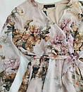 Бежеве жіноче плаття з яскравим квітковим принтом, фото 2