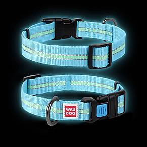 Ошейник WAUDOG Nylon светонакопительный, Голубой, 23-35 см, 15 мм, фото 2