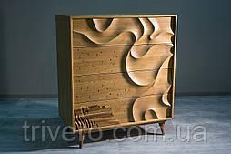 Дизайнерский арт комод из дуба Северное сияние из натурального дуба