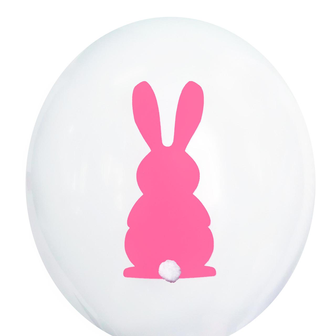 """0453 Шар 12"""" (30 см) Розовый зайка на белом + хвостик (Kalisan)"""