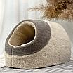 Домик лежанка для котов собак теплый меховой кремовый бежевый, фото 4