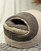 Домик лежанка для котов собак теплый меховой кремовый бежевый, фото 6