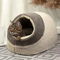 Домик лежанка для котов собак теплый меховой кремовый бежевый