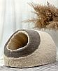 Домик лежанка для котов собак теплый меховой кремовый бежевый, фото 2