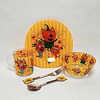 Детский набор стеклянной посуды для кормления Три Кота 5 предметов Metr+