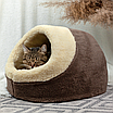 Домик лежанка для котов собак теплый меховой кремовый бежевый, фото 8