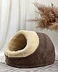 Домик лежанка для котов собак теплый меховой кремовый бежевый, фото 9