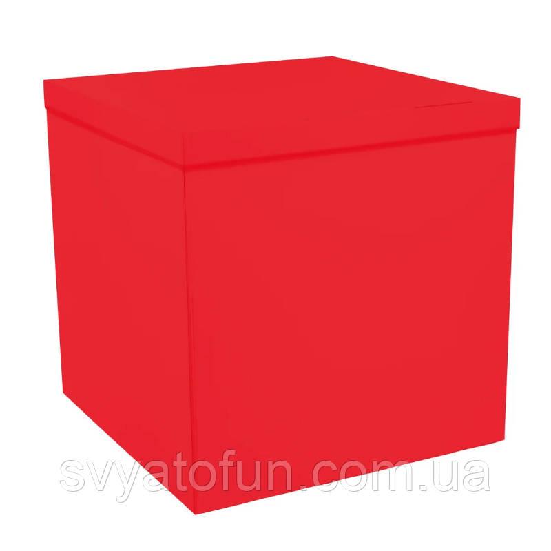 Коробка-сюрприз для воздушных шаров красная без надписей