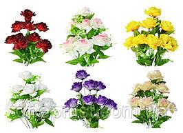"""Букет искусственный """"Розы большие"""" 9 цветков, 9 см, 47 см (9 видов)"""