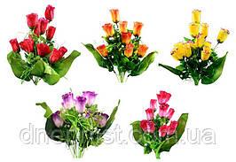 """Букет искусственный """"Розы бутон, АТЛАС"""" 12 цветков, 5 см, 40 см (5 видов)"""