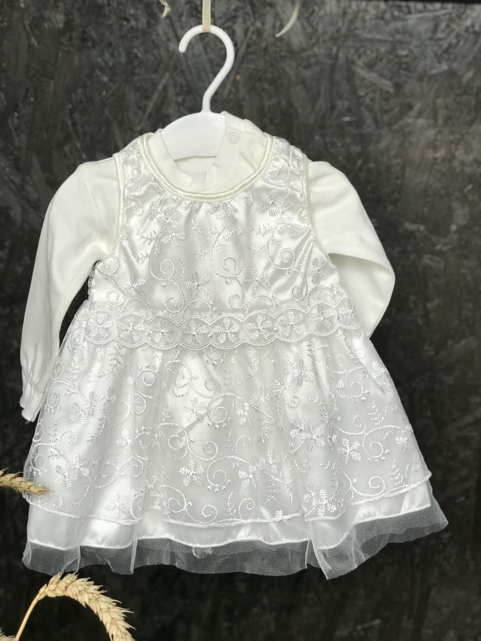 """Плаття для новонародженої дівчинки """"Адель"""" на 0-1 міс (+ в подарунок пінетки, пов'язка)."""