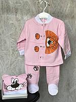 """Детский комплект """"Мультяшка"""" на 74-86 см (ползунки, кофточка, шапочка) розового цвета., фото 1"""