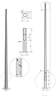 Опора освещения восьмигранная оцинкованная - 12ASO 60/250 - F(3)