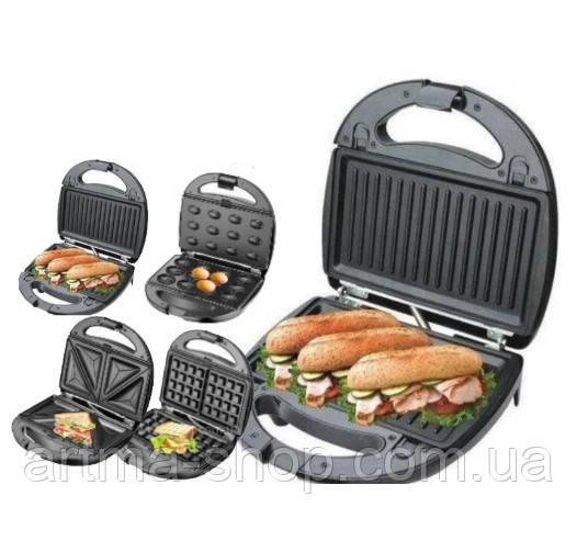 Сендвичница, вафельница, орешница, бутербродница, гриль 4 в 1 Domotec MS 7Steel