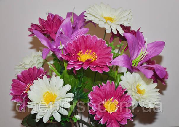 """Букет искусственный """"Герберы и лилии"""" 13 цветков, 9 см, 57 см (10 видов), фото 2"""