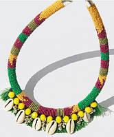 Яркое  летнее   массивное  Колье  Ожерелье из бисера  с  ракушками  морскими Мango  Оригинал