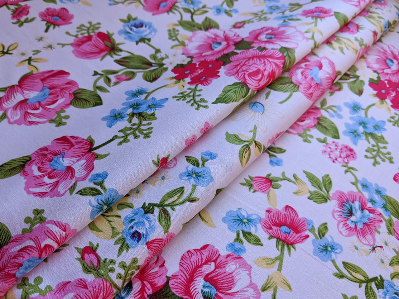 Коттон стрейчевый рисунок яркие цветы, розовые на белом