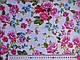 Коттон стрейчевый рисунок яркие цветы, розовые на белом, фото 2