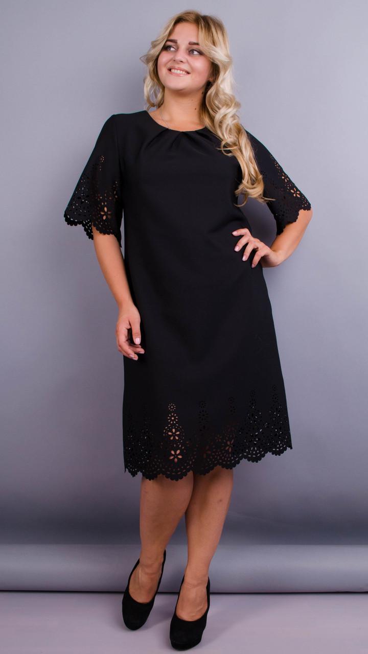 Плаття нарядне великого розміру Ажур чорний