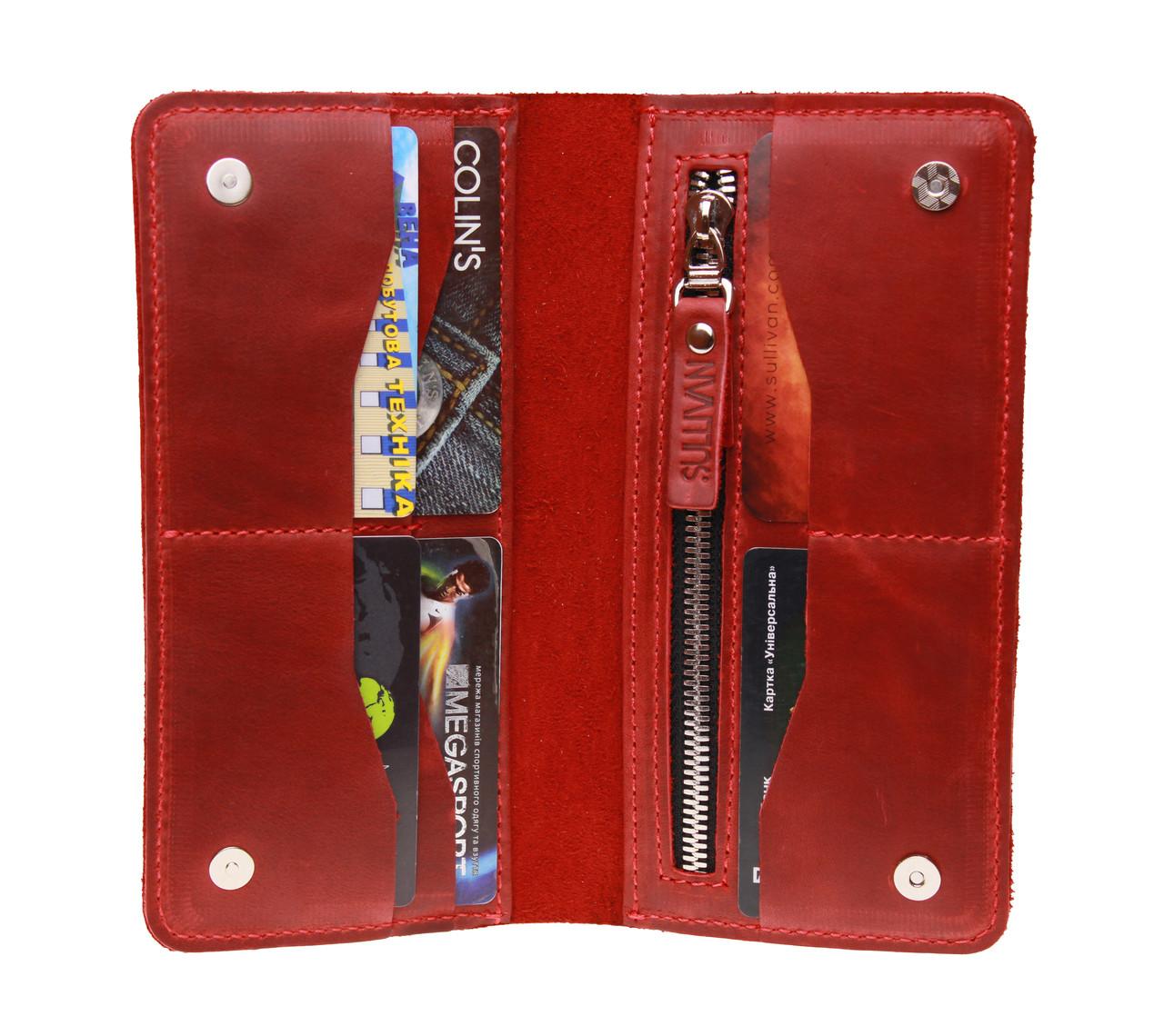 Кошелек женский кожаный большой SULLIVAN kgb60(10) красный