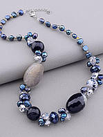Бусы женские на шею из бусин разных диаметров натуральных камней агата жемчуга и чешского хрусталя длина 45 см