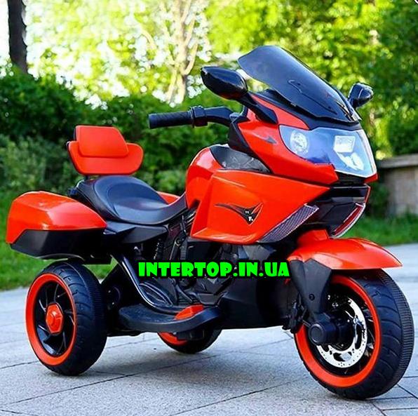 Дитячий триколісний електромотоцикл Tilly T-7224 червоний. Мотоцикл для дітей