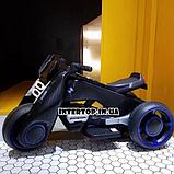 Детский трехколесный электромобиль мотоцикл BMW Hurricane на резиновых колесах M 3926A-2 черный, фото 7