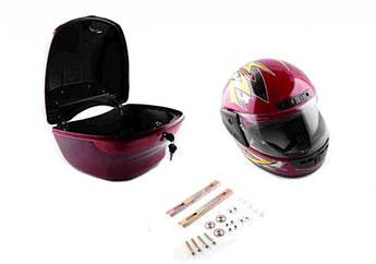 Мотокофр, Кофр на скутер, мотоцикл, мопед пластмассовый (красный, +шлем) EVO