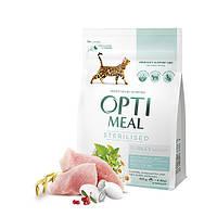 Сухой корм Optimeal (Оптимил) для кошек стерилизованных индейка овес 10 кг