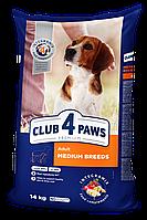 Сухой корм Клуб 4 Лапы Premium для собак средних пород курица 14 кг