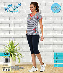Комплект летний женский (футболка короткий рукав+бриджи), BellaSecret  (размер M)