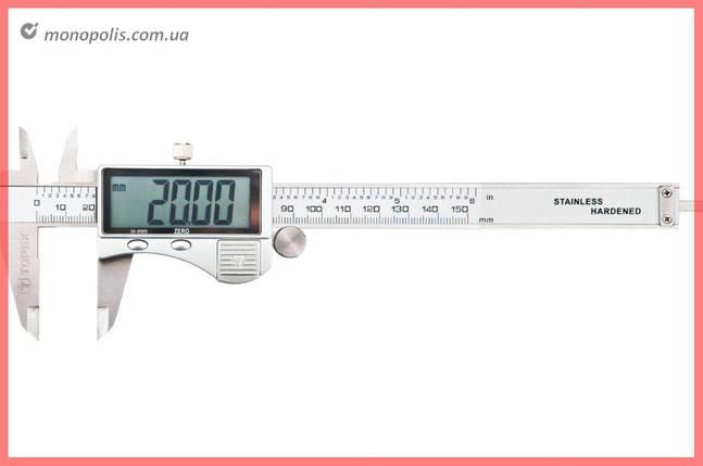 Штангенциркуль Topex - 150 мм электронный, цена деления 0,02 мм, металл, фото 2