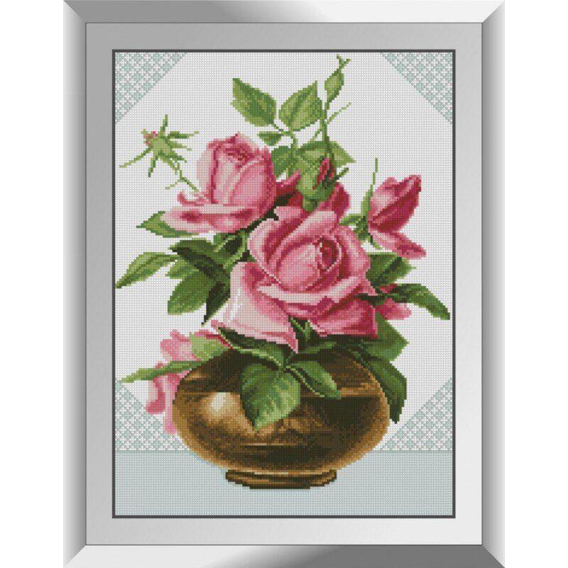 31481 Розовые розы Набор алмазной живописи