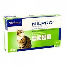 Антигельминтные таблетки Virbac Milpro для кошек более 2 кг, 1 шт., Поштучно