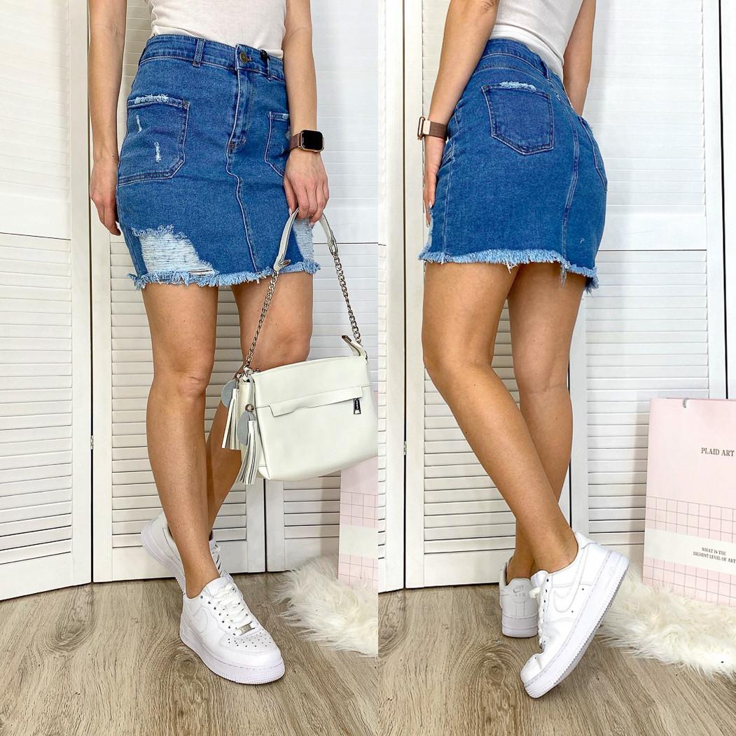 4221-111 Woox юбка джинсовая с рванкой синяя летняя стрейчевая (26-31, 7 ед.)