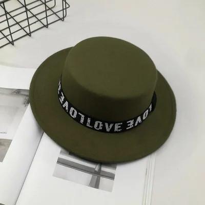 Шляпа женская фетровая канотье Love зеленая (хаки)