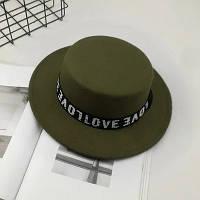 Шляпа женская фетровая канотье Love зеленая (хаки), фото 1
