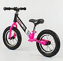 """Велобіг від 88621 сталева рама колеса 12"""" надувні рожевий, фото 3"""