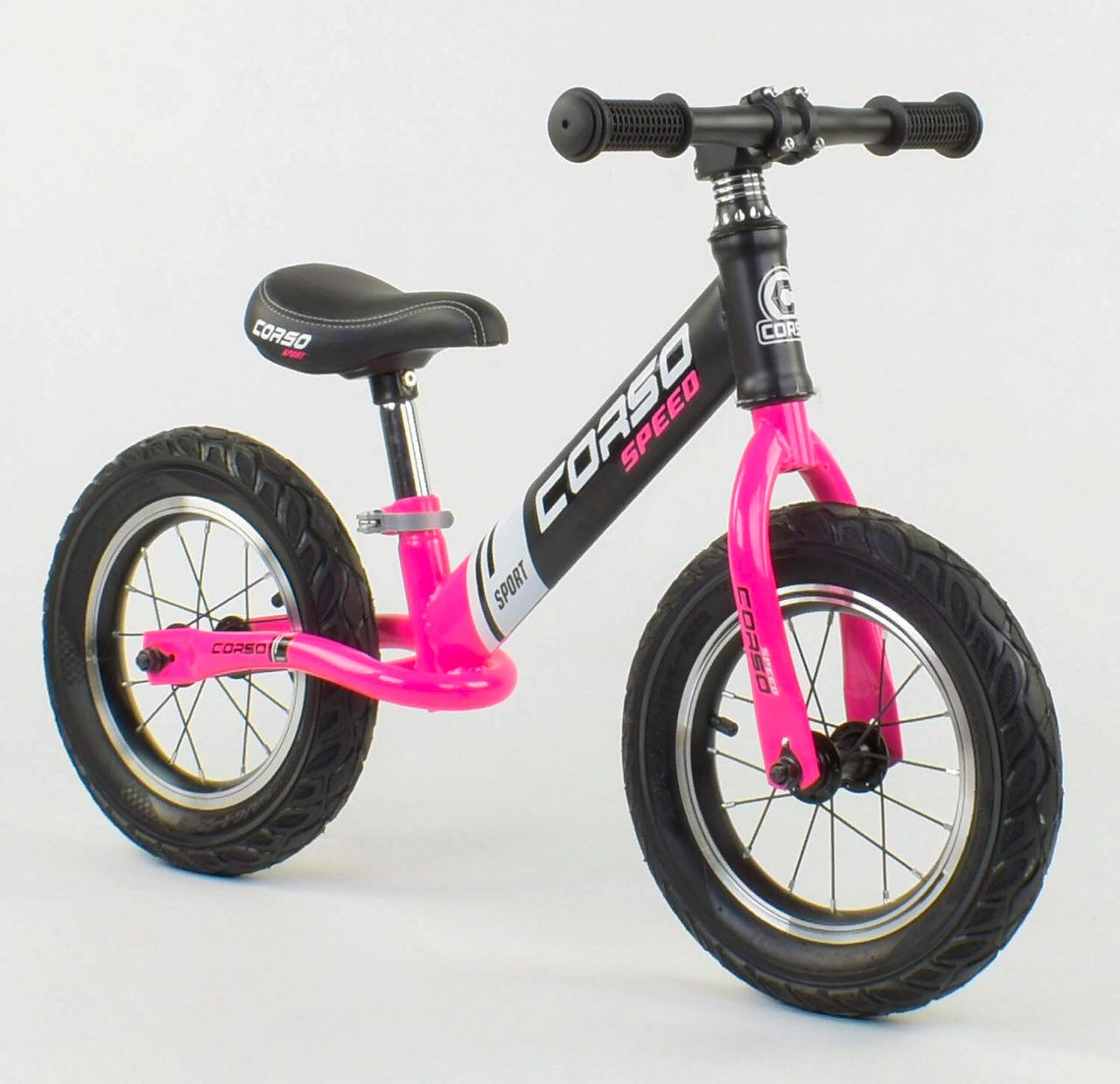 """Велобіг від 88621 сталева рама колеса 12"""" надувні рожевий"""
