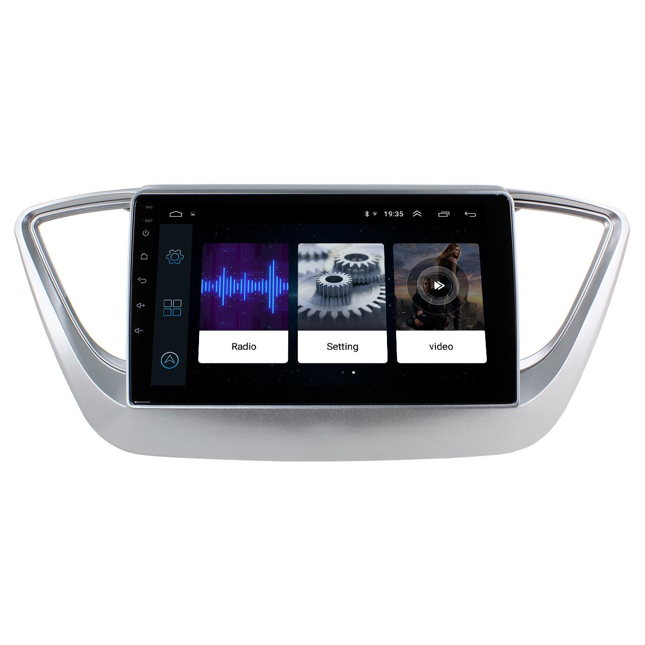 """Штатная автомобильная магнитола 9"""" Hyundai Accent 2017г. память 2/32Gb GPS навигация USB Bluetooth IGO Android"""