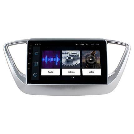"""Штатная автомобильная магнитола 9"""" Hyundai Accent 2017г. память 2/32Gb GPS навигация USB Bluetooth IGO Android, фото 2"""
