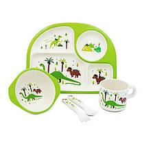 Набор посуды из бамбукового волокна Динозавры, бамбуковая посуда для детей , Bamboo Fibre kids set,2773