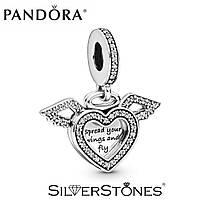 Pandora шарм подвеска Сердце и крылья ангела 798485C01 серебро 925 Пандора оригинал