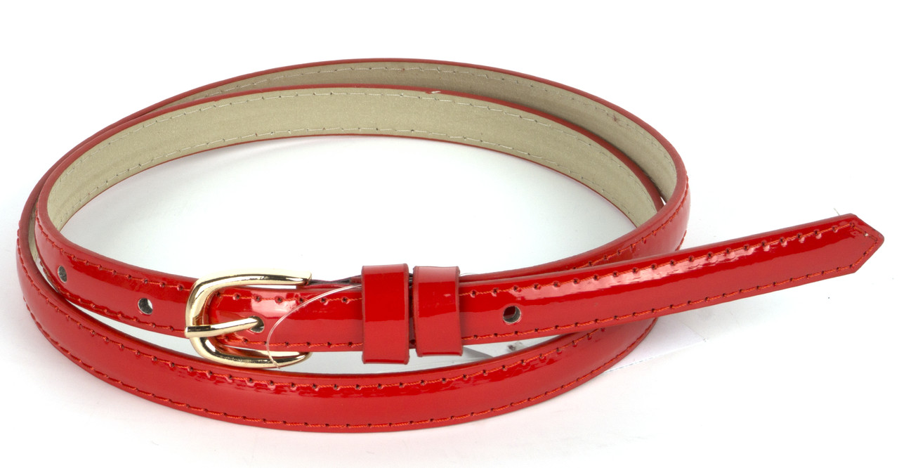 Женский тонкий лаковый ремешок кожзам красного цвета art. (103756)