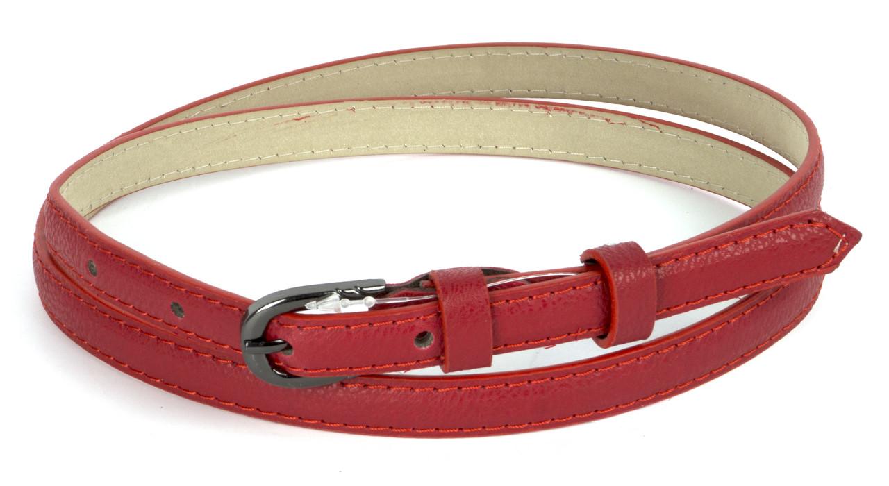 Женский тонкий матовый ремешок кожзам красного цвета art. (103753)