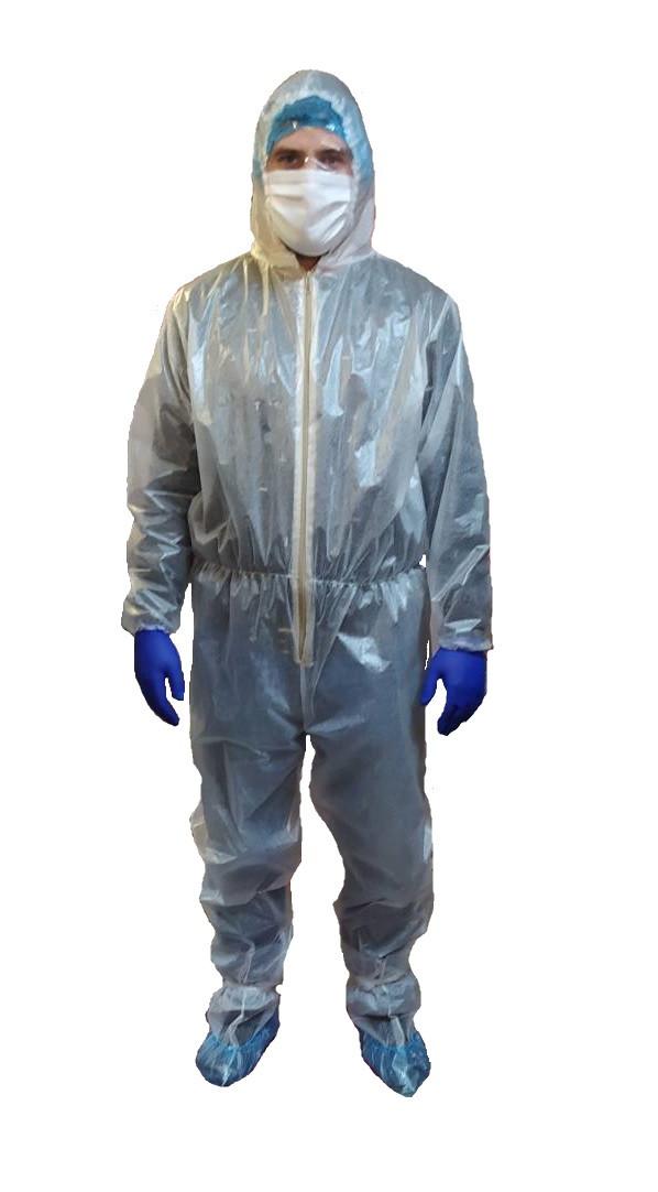 Одноразовый ламинированный (водонепроницаемый) комбинезон пл 50г/м2