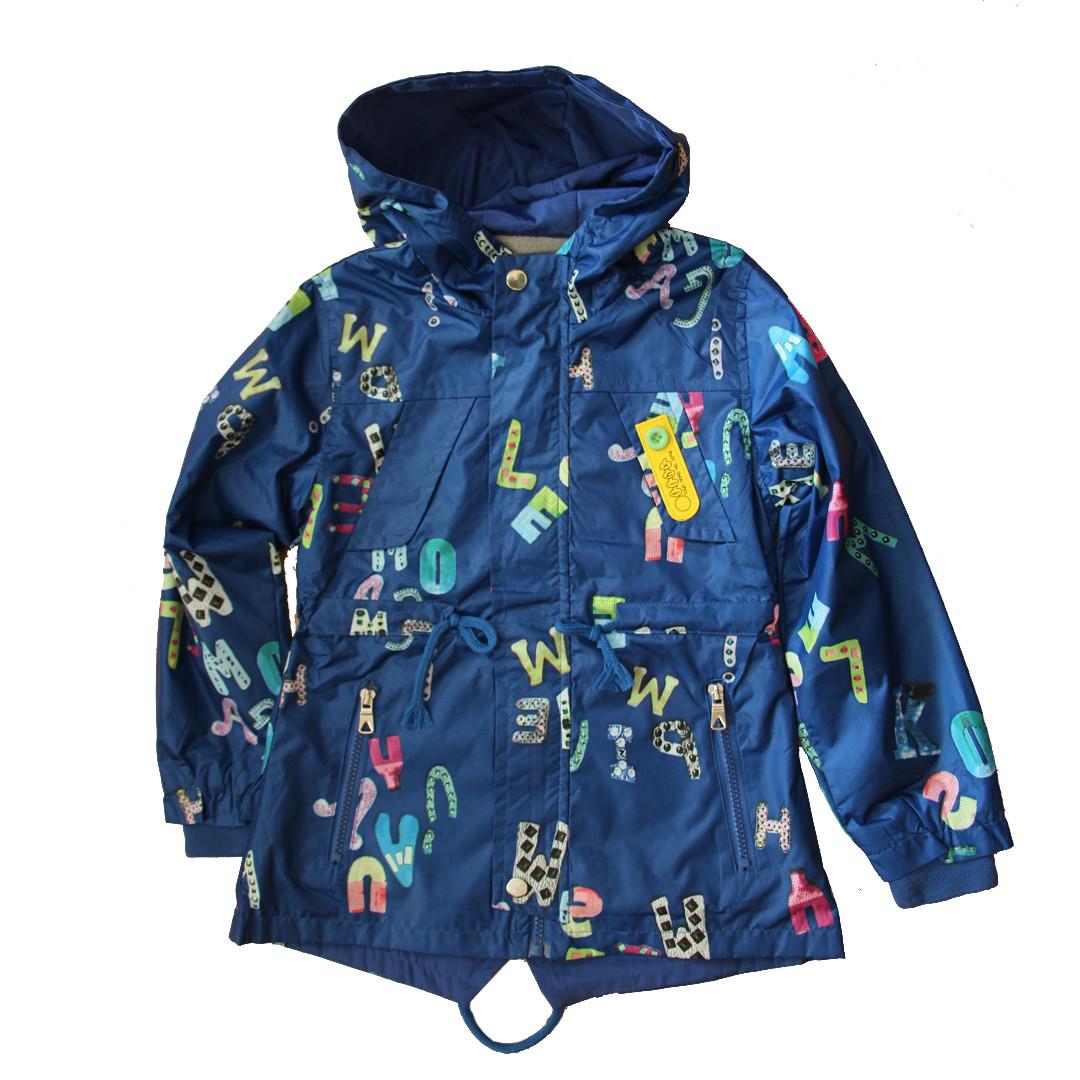 Детская ветровка парка дождевик на флисе  синяя