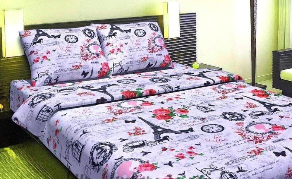 Евро комплект постельного белья Ласточки в Париже